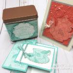 stampin up tea card and tin