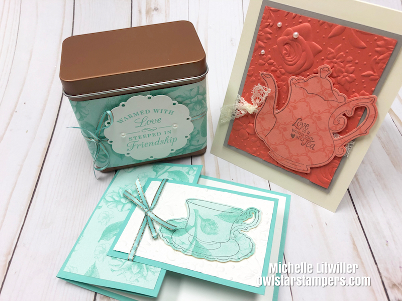 stampin up tea card and tin